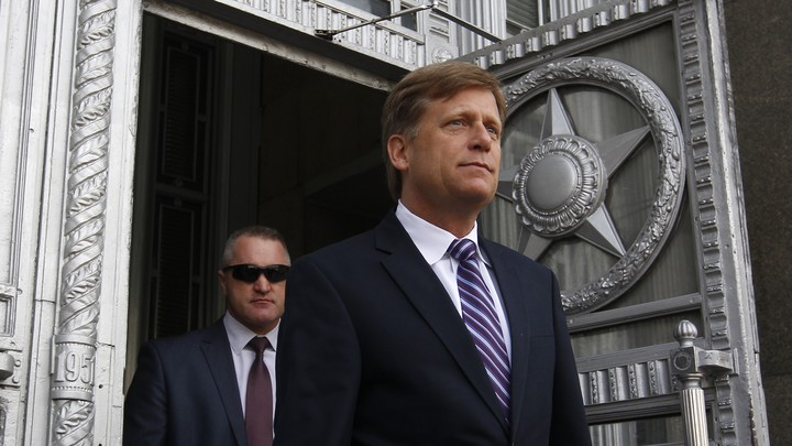 Michael McFaul exits the Russian foreign ministry in Moscow.