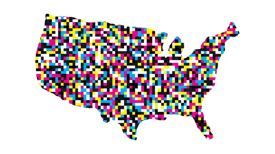 An illustration of the United States with multi-colored dots covering the map.