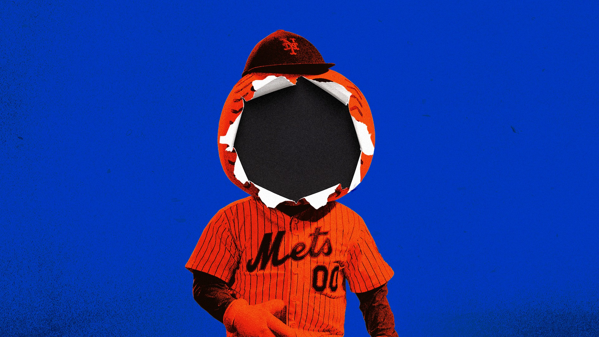 An illustration of Mr. Met with a baseball-shaped hole through his face