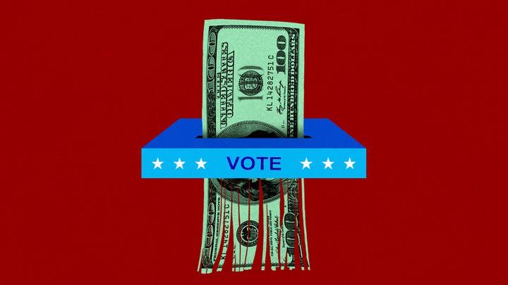 A ballot box shredding a $100 bill