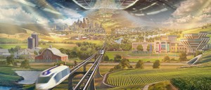 An artist's rendering of a space colony, with farms, a university campus, an elevated train track, and skyscrapers in the background.