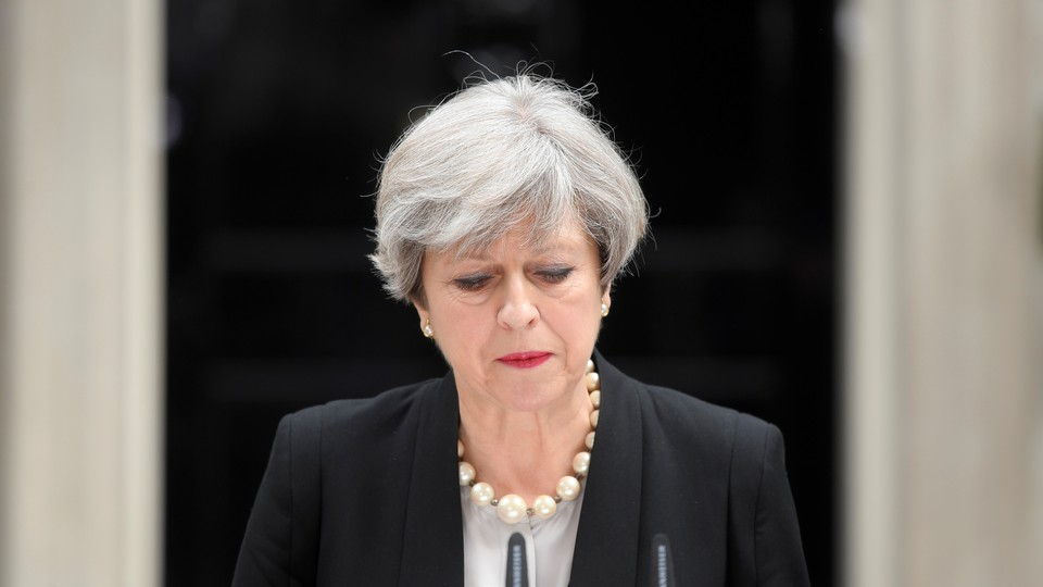 U.K. Prime Minister Theresa May speaks outside 10 Downing Street in London on May 23, 2017.