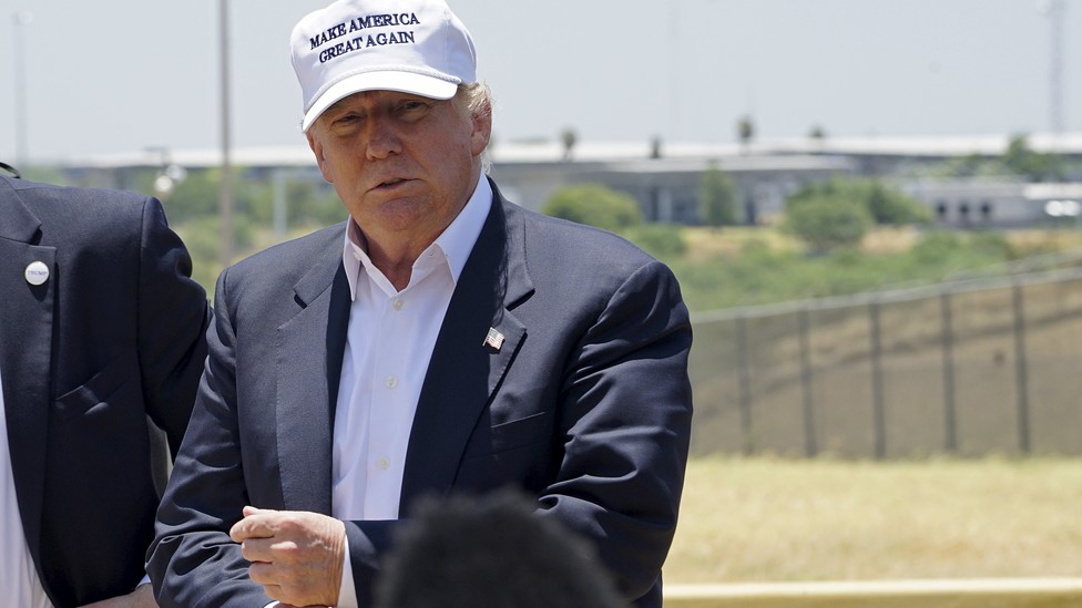 Donald Trump visits the U.S. border with Mexico in July 2015.