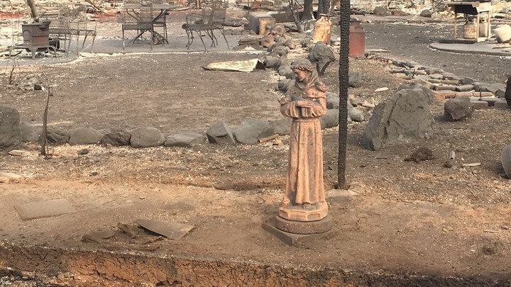 A statue stands in a backyard, amidst the rumble of a destroyed home.