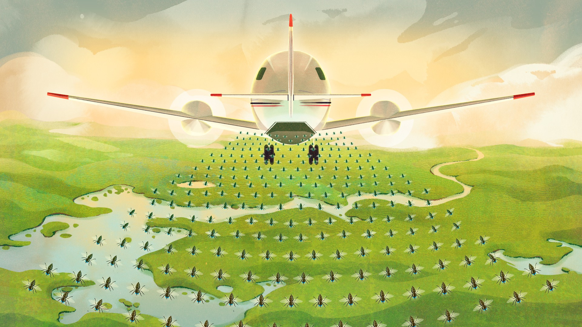 illustration of an airplane dropping insects