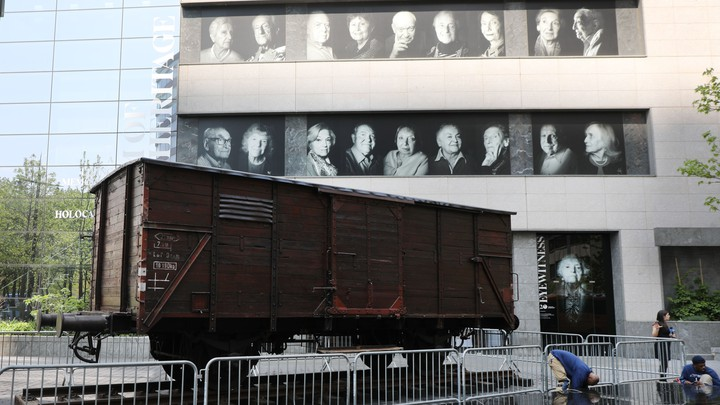 A boxcar used for the deportation of Jews to Auschwitz rests outside the Museum of Jewish Heritage.