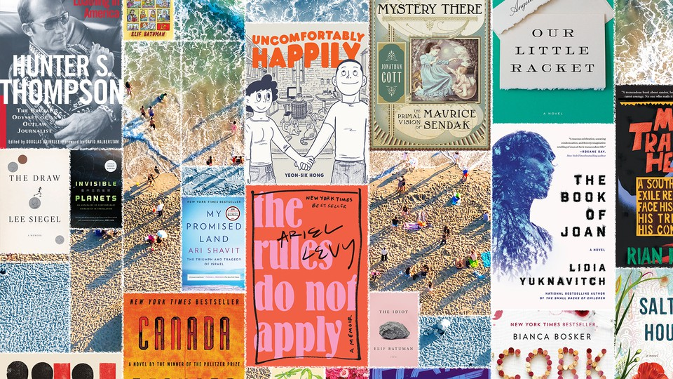Book covers and a beach scene
