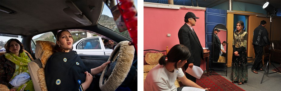 Left:  A woman in makeup drives a car. Right: A young actress on set