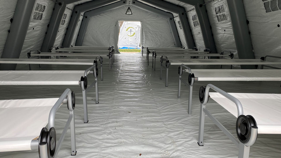 Inside a newly erected field hospital in Manhattan's Central Park, March 30, 2020