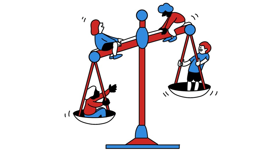 An illustration of kids on a scale of justice, as if it's a seesaw