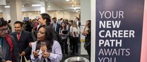Job seekers at TechFair in Los Angeles