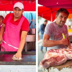 Three workers pose separately inside a public market in Mexico City.