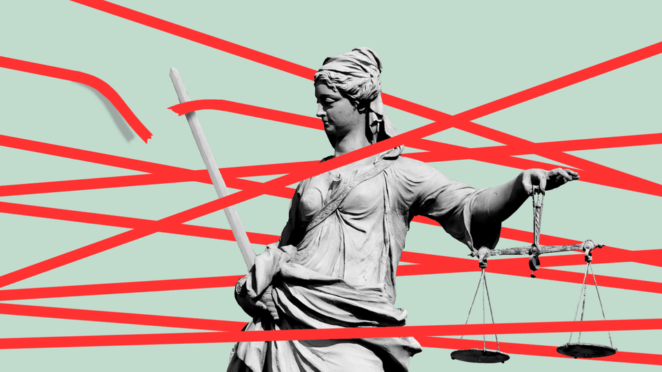 An illustration of Lady Liberty with red tape
