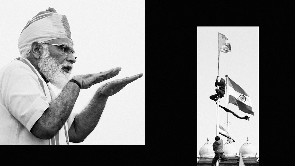 An image of Narendra Modi side by side with an image of protesters scaling a flagpole.