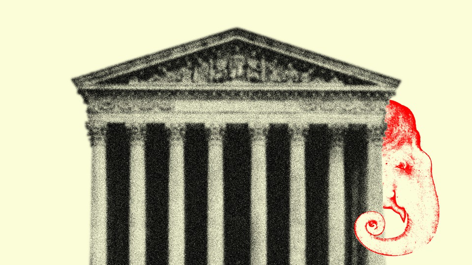 Illustration of the Supreme Court with an image of an elephant representing the Republican party peering out from behind the building