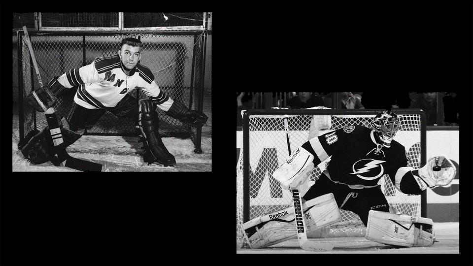A hockey goalie shown from an earlier era has much smaller equipment than today's goalies
