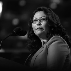 Senator Tammy Duckworth of Illinois at a podium