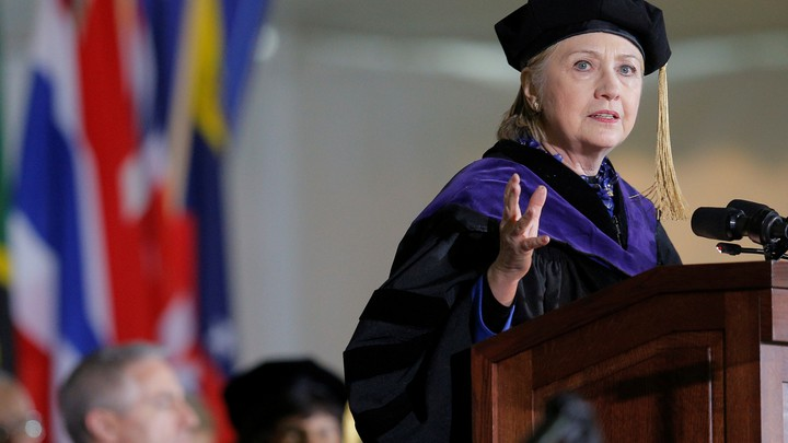 Hillary Clinton delivers the commencement address at Wellesley College on May 26, 2017.