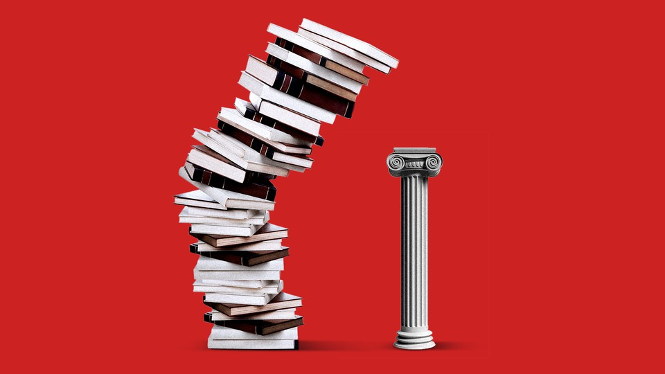 An illustration of a stack of books towering over a column.