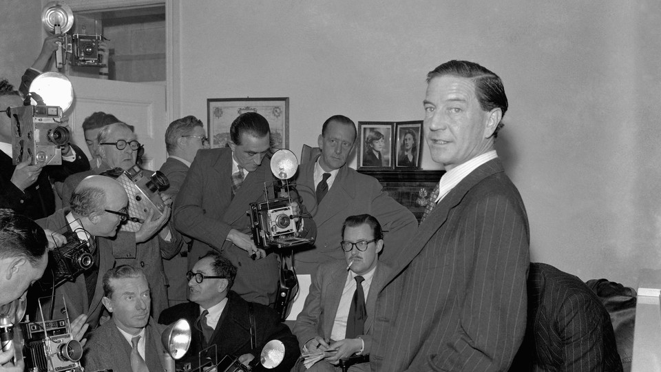 Kim Philby at a press conference in his parent's London home, in November 1955