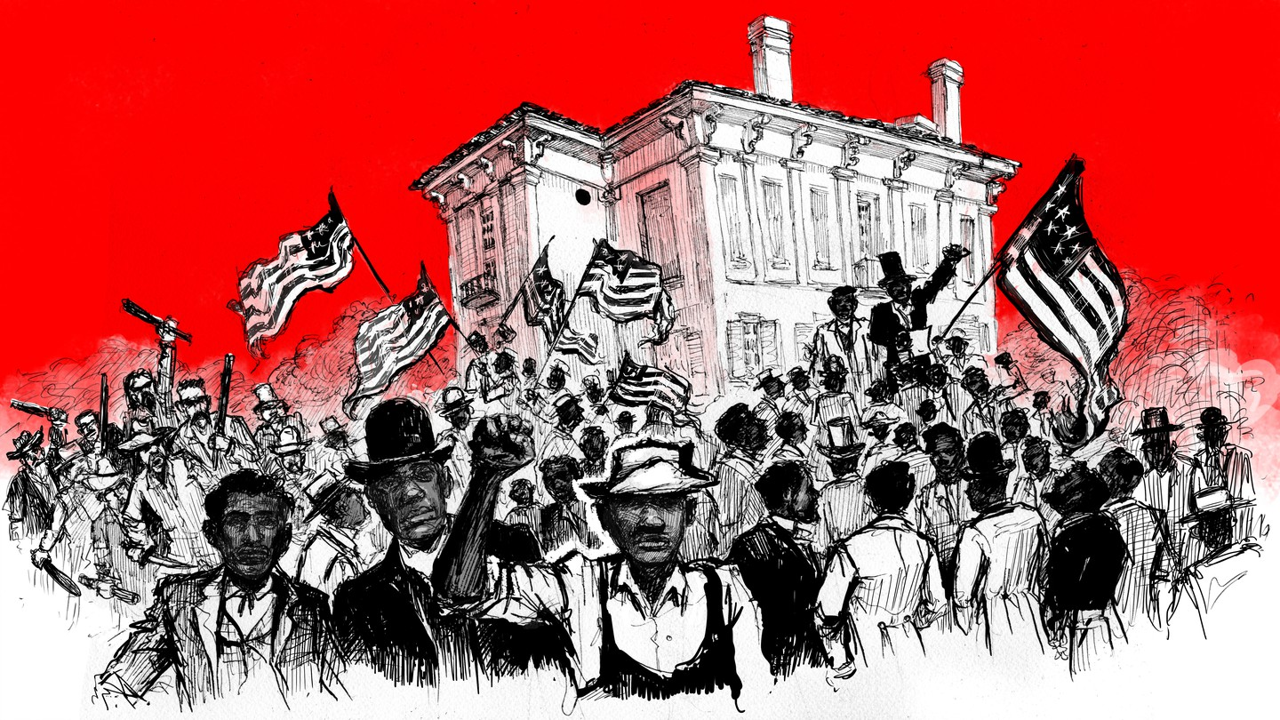 Red, Black and White illustration of Black speakers and white rioters in Eutaw