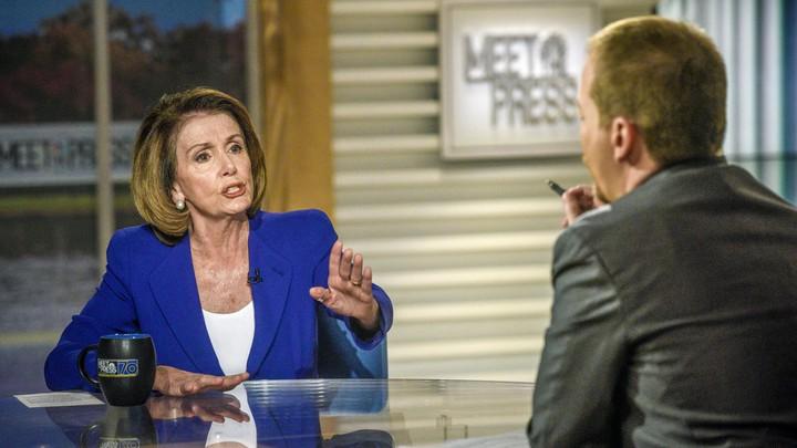 "Rep. Nancy Pelosi (D-CA) and moderator Chuck Todd appear on ""Meet the Press"" in Washington, D.C., Sunday, Nov. 26, 2017."