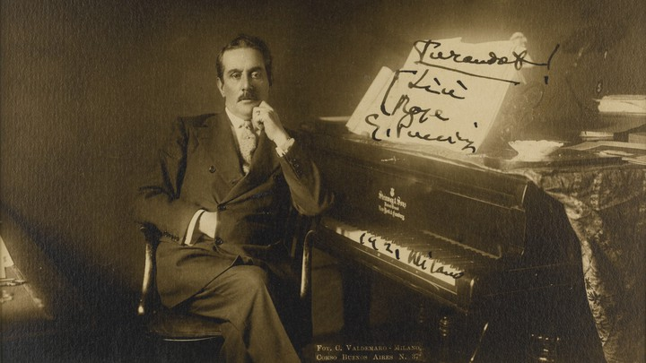 A portrait of Giacomo Puccini with an inscription to the soprano Rose Ader