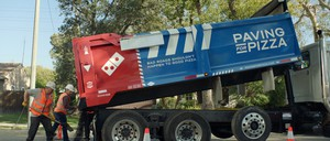 "A road repair truck for Domino's ""Paving for Pizza"" campaign."
