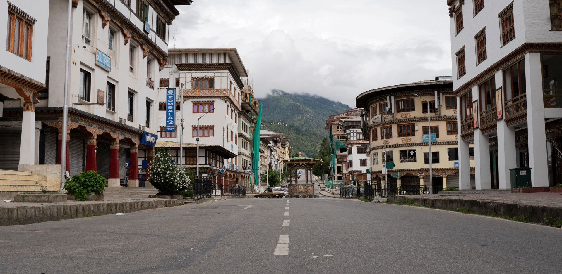 General view of the deserted Norzin Lam road, the main artery of Bhutan's capital, during a government-imposed nationwide lockdown as a preventive measure against COVID-19 in Thimphu on August 13, 2020