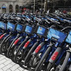 a photo of a row of Citi Bikes in NYC.