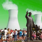 An illustration of a statue of Walt Disney between two nuclear cooling towers.