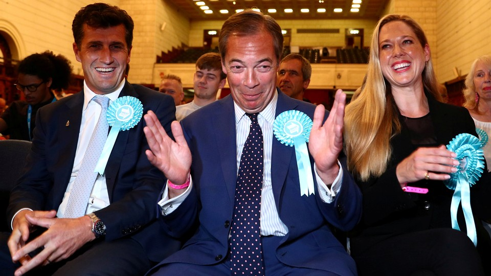 The Brexit Party leader, Nigel Farage, reacts to the results of the European Parliament elections in Southampton, Britain, on May 27, 2019.