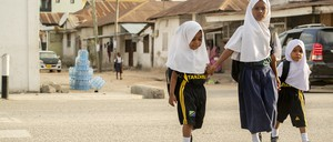 A photo of children walking in Dar es Salaam, Tanzania.