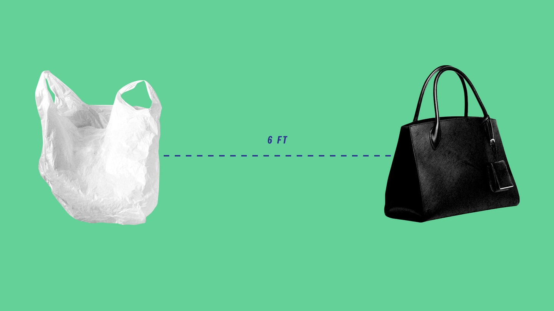A plastic bag and a black leather handbag six feet apart