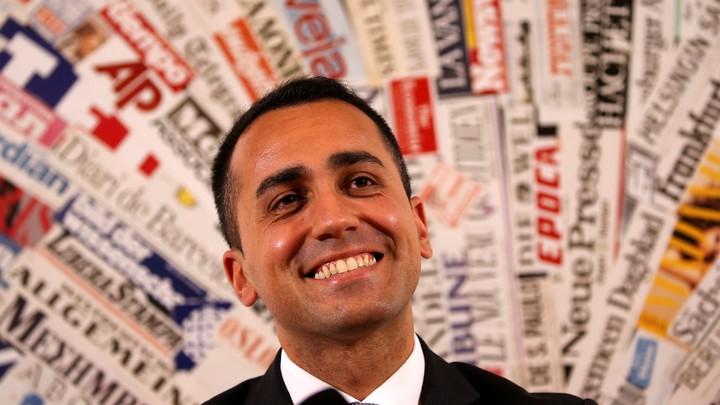 Luigi Di Maio, of the anti-establishment Five-Star Movement, smiles during a news conference in Rome.