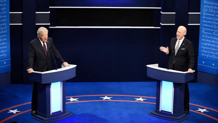 Alec Baldwin as Donald Trump and Jim Carrey as Joe Biden on 'SNL'