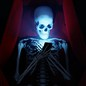 illustration of skeleton in coffin looking at smartphone