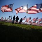 American Flags flying.