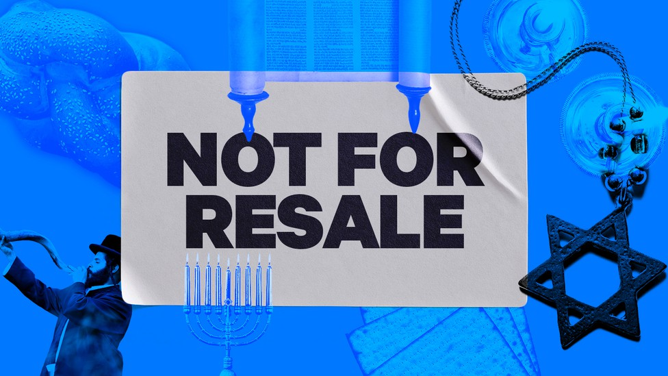 """A """"Not For Resale"""" sticker is juxtaposed on a Torah scroll, Star of David, menorah, and other symbols."""