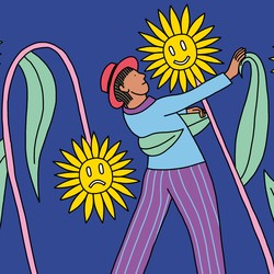 A man dances with a smiling sunflower; around him are both smiling and frowning flowers.