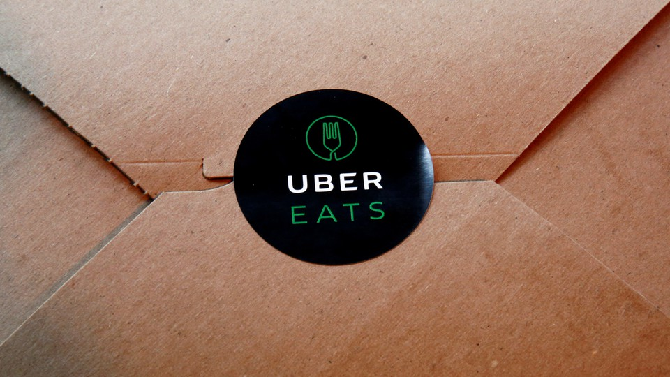UberEats' logo on its food-delivery box