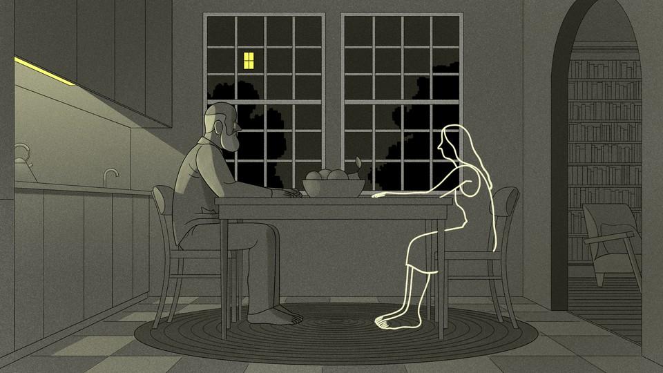 Illustration of a grieving husband.