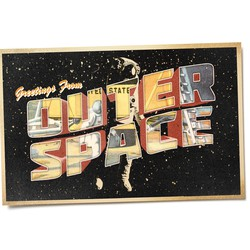 """An illustration of a vintage """"greetings from outer space"""" postcard with an astronaut"""