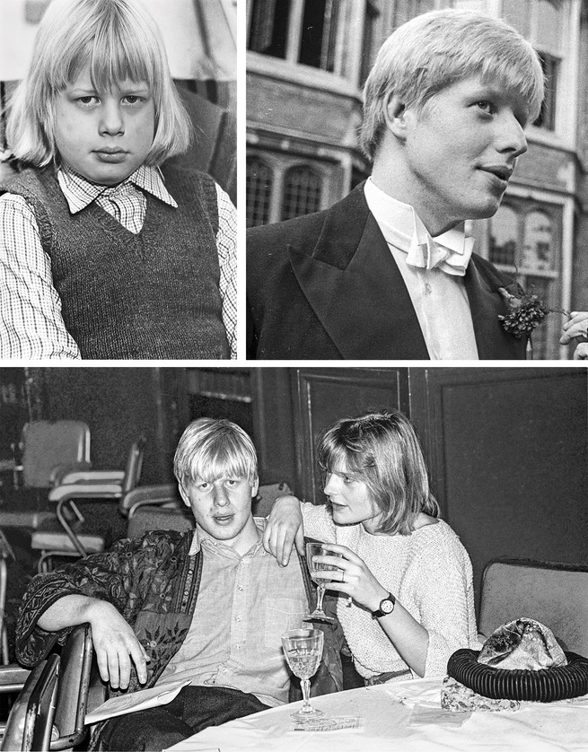 3 photos: Johnson at age 8; Johnson at 21 in formalwear; Johnson with Allegra Mostyn-Owen, whom he married