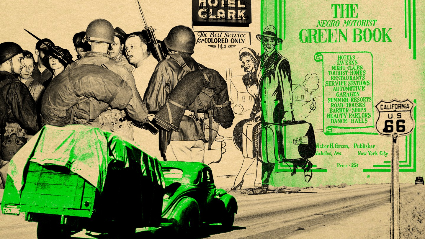 A Route 66-inspired collage featuring photos and illustrations of people and the Negro Motorist Green Book