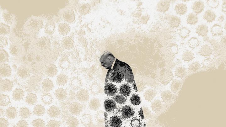 Donald Trump walks head down, with the coronavirus superimposed over him.