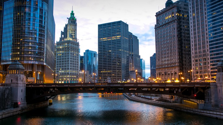 Downtown Chicago pictured at dawn