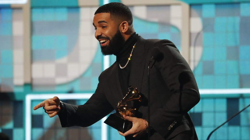 Drake accepts the Grammy for Best Rap Song at the 2019 awards.