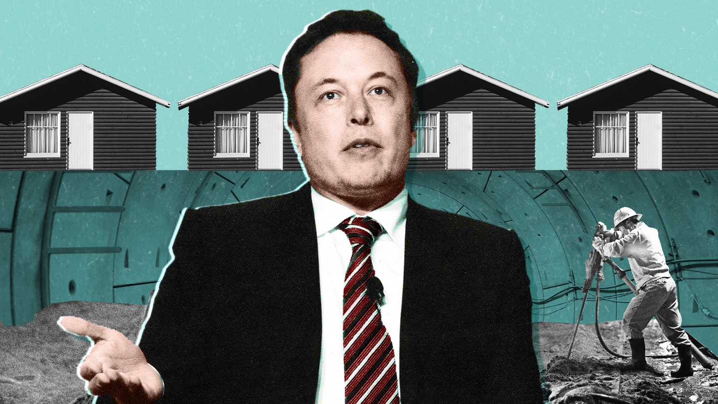 An illustration of Elon Musk in front of homes in Hawthorne