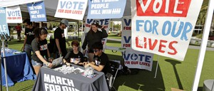 Students work the table at a drive to increase voter participation at the University of Central Florida in Orlando, 2018.